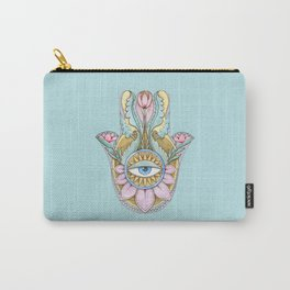 Hamsa On Turquoise Carry-All Pouch