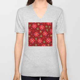 Christmas Holiday Red Holly Star Pattern Unisex V-Neck