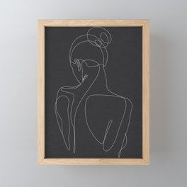 dissol - one line art - noir Framed Mini Art Print