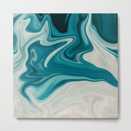 White & Teal Abstract Art Painting Metal Print