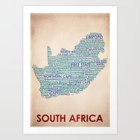 south africa Art Prints featuring South Africa by Wordmaps