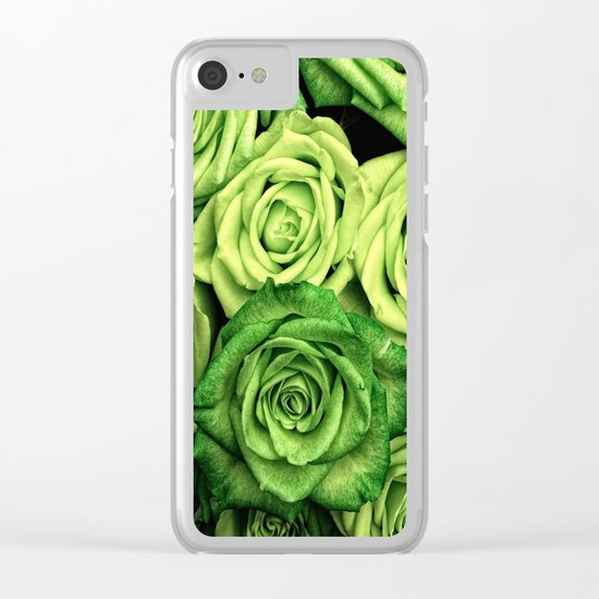 Green Roses Clear iPhone Case