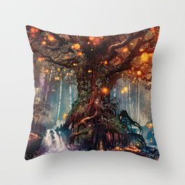 Magnificent Big Marvelous Magic Glowing Fairytale Forest Tree Light Bulbs Dreamland Ultra HD Throw Pillow