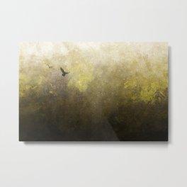 Golden Space Flight Metal Print