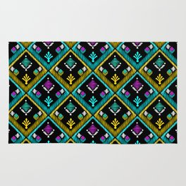 Abstract ethnic ornament. Black background . Rug