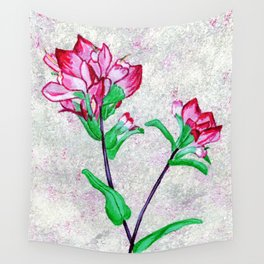 Indian Paintbrushes with a hit of red and purple background Wall Tapestry