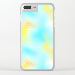 Cyan Blue and Yellow Mermaid Tail Abstraction. Magic Fish Scale Pattern Clear iPhone Case