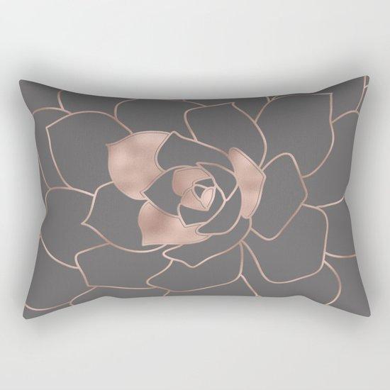 Rosegold  blossom on grey - Pink metal-effect flower Rectangular Pillow