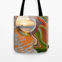 pushing daisies Tote Bags featuring Pushing Paradise by Brenda Starr