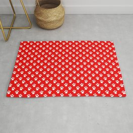 Tiny Paw Prints Pattern - Bright Red & White Rug