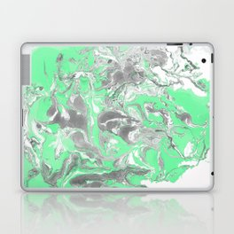Light green and gray Marble texture acrylic paint art Laptop & iPad Skin