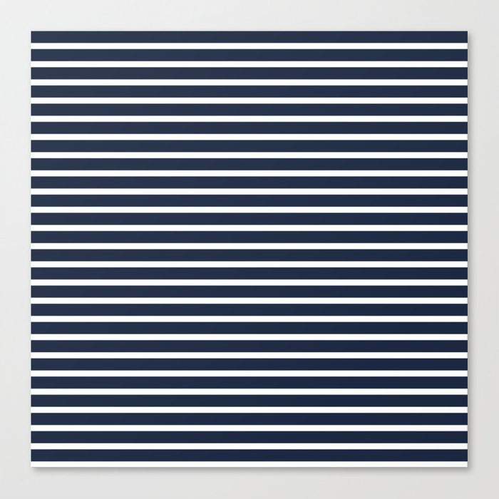 78062779f66 Nautical Navy and White Horizontal Stripes Canvas Print by leahmcphail