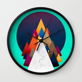 066 - Owly climbing the coloured holy mountain Wall Clock