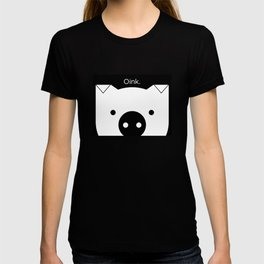 "Peek-a-Boo Pig, ""Oink"", Black and White T-shirt"