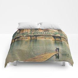 Lovers Under the Bridge Comforters