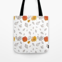 Fall orange gold hand drawn black white leaves Tote Bag