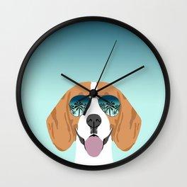 Tropical Beagle illustration cute palm trees sumer sunglasses dog design Wall Clock