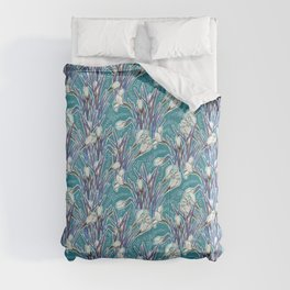 Crocuses, floral pattern in turquoise, blue and white Comforters