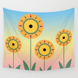 Pineapple Flowers Wall Tapestry