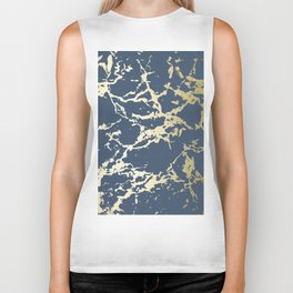 Kintsugi Ceramic Gold on Indigo Blue Biker Tank
