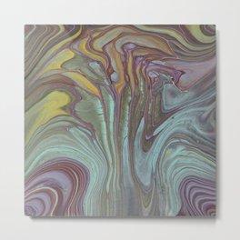 Fluifacent Abstract Art Print of Original Painting Blue Green Purple Metal Print