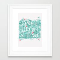 once upon a  time Framed Art Prints featuring Once Upon A Time by Becca Pike