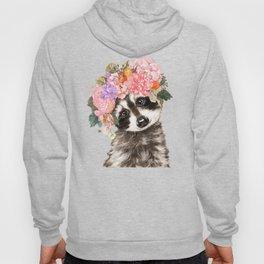 Baby Raccoon with Flowers Crown Hoody