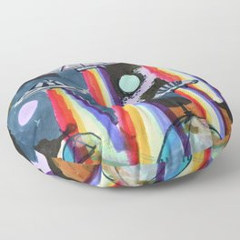 rainbow ufo Floor Pillow