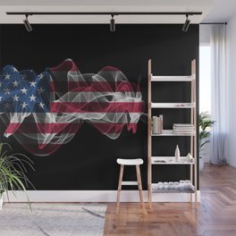 USA Smoke Flag on Black Background, USA flag Wall Mural