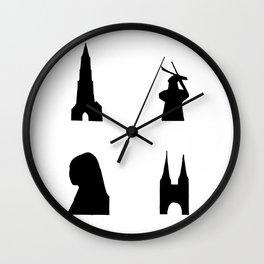 Delft dark silhouette Wall Clock