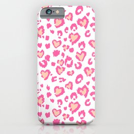 White & Pink Leopard Hearts iPhone Case