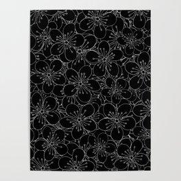 Cherry Blossom Black on White - In Memory of Mackenzie Poster