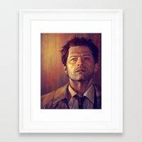 castiel Framed Art Prints featuring Castiel by Amanda Shae