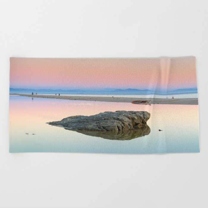 """Walking...."" Pink sunset at the beach. Beach Towel"