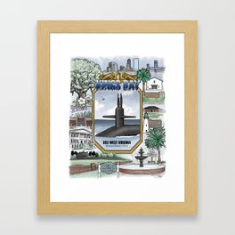 USS West Virginia - Kings Bay Submarine Service (gold dolphins) Framed Art Print