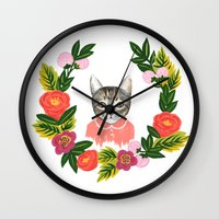 leah flores Wall Clocks featuring Scout con Flores by Leah Romero