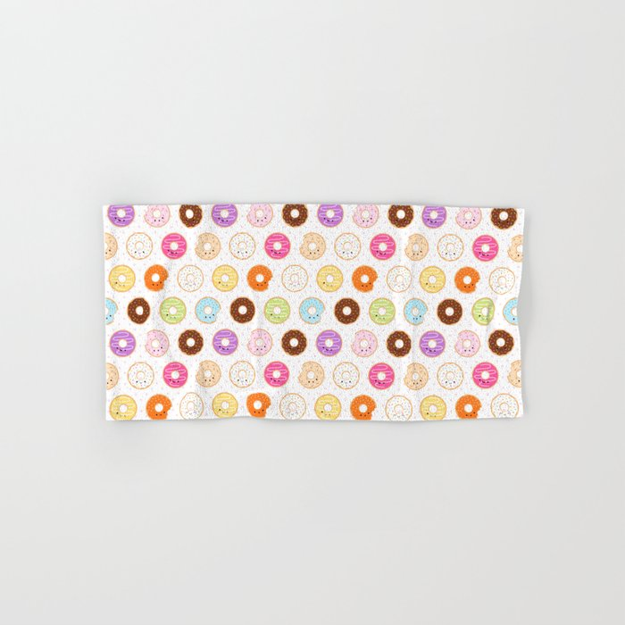 Happy Cute Donuts Pattern Hand & Bath Towel