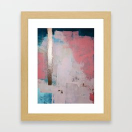 Morning Light: a minimal abstract mixed-media piece in pink gold and blue by Alyssa Hamilton Art Framed Art Print