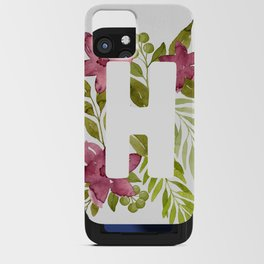 Monogram H with red watercolor flowers and leaves. Floral letter H iPhone Card Case