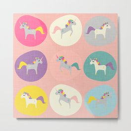 Cute Unicorn polka dots pink pastel colors and linen texture #homedecor #apparel #stationary #kids Metal Print
