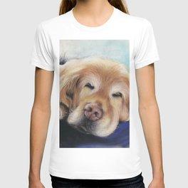 Sweet Sleeping Golden Retriever Puppy by annmariescreations T-shirt