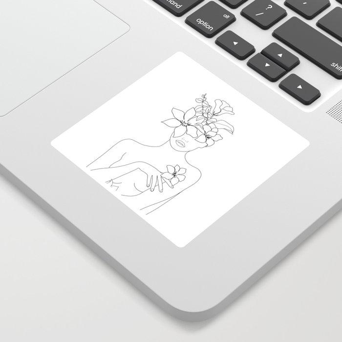 Minimal Line Art Woman with Flowers IV Sticker