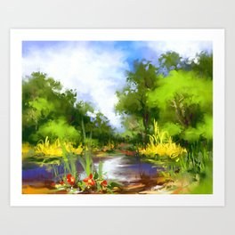 Summer lake Art Print
