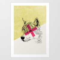 techno Art Prints featuring Techno Wolf by Zeke Tucker