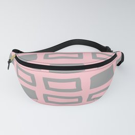 Mid Century Modern Abstract Squares Pattern 542 Gray and Pink Fanny Pack
