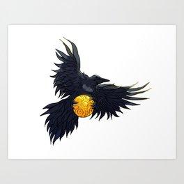 Crow Grabbing Sphere Art Print