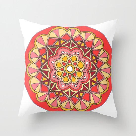 Red Mandala Throw Pillow