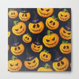 October Halloween halloween pumpkin witch hat black Metal Print