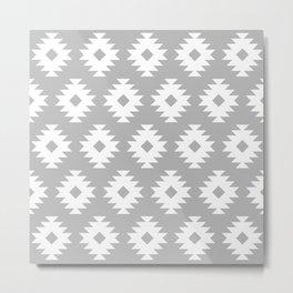 Southwestern Pattern 444 Gray Metal Print