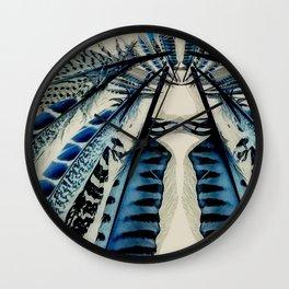 Blue wing feathers bird wings Wall Clock